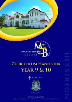 curriculum handbook Yr 9/10